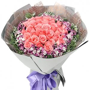 鲜花/三世爱恋:21朵粉玫瑰,相思梅,高山积雪 花 语:难忘初见你