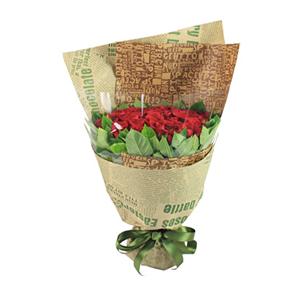 鮮花/舊日時光:33支紅玫瑰 包 裝:外層高檔英文報紙、內層透明玻