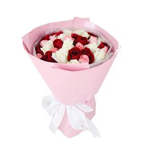 鮮花/想念你:11支戴安娜粉玫瑰、11支白玫瑰、11支紅玫瑰 花