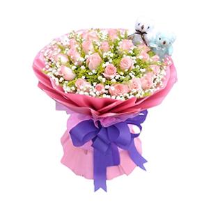 鮮花/當我想你的時候:33枝粉玫瑰 包 裝:粉色瓦楞紙圓形精美花束,搭配