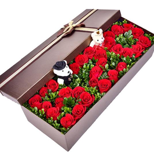 鲜花/520浪漫礼盒: 33朵玫瑰加礼盒+绿叶+两个小熊  [包 装