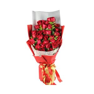 鮮花/一生愛人:33枝紅玫瑰 包 裝:高檔大紅色包裝紙、白色霧面紙