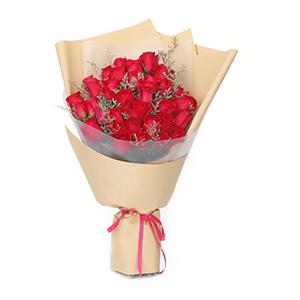 鲜花/三生三世: 33枝经典朱砂红玫瑰  [包 装]:牛皮纸艺