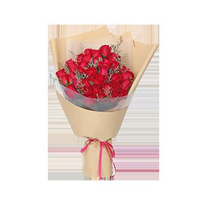 鲜花/三生三世:33枝经典朱砂红玫瑰,情人草间插 花 语:清晨与你