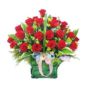 鲜花/温暖情怀: 50枝红玫瑰  [包 装]:有柄圆形提篮、彩