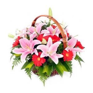 鲜花/因为有你:6枝粉色多头香水百合,12枝红色扶郎 [包 装