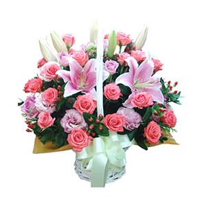 鲜花/我的问候:19枝粉玫瑰、6枝紫玫瑰、6枝龙胆(或康乃馨)、2枝