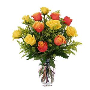 鲜花/爱的告白: 6枝彩色玫瑰和6枝黄玫瑰  [包 装]:精美