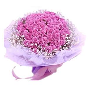 鲜花/最美:99朵紫色玫瑰 包 装:精美软沙豪华包装(粉色丝带