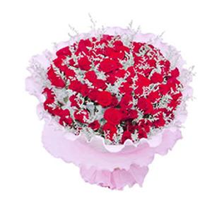 鲜花/好久不见:99支红玫瑰 包 装:粉色卷边纸圆形精美包装。
