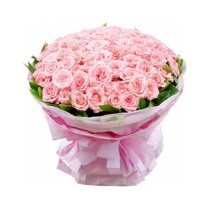 鲜花/温暖的遇见: 99枝粉玫瑰。  [包 装]:粉色瓦楞纸包装