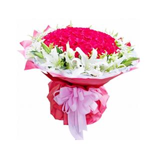 鮮花/幸福相依:99枝紅玫瑰,10枝多頭白百合。 包 裝:紅色瓦楞