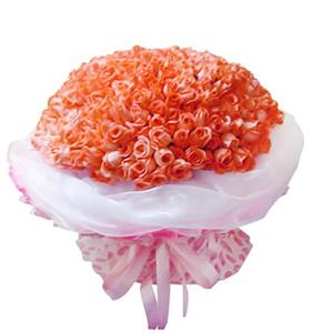 鲜花/爱你生生世世: 144枝粉玫瑰  [包 装]:白色羽纱、粉色