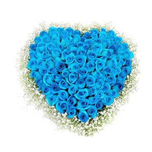 鲜花/你让我心醉: 99只蓝色妖姬  [包 装]:心形花盘