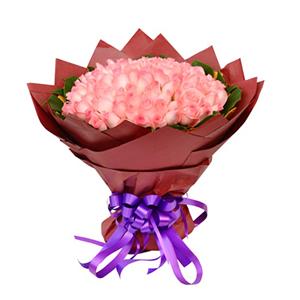 鲜花/嫁给我吧: 108枝粉玫瑰  [包 装]:黄色皱纹纸内衬