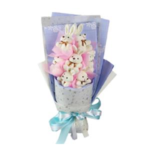 卡通花束/借你的耳朵(卡通花束): 7只小白兔  [包 裝]:粉色棉紙內襯,淺藍