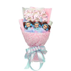 卡通花束/爱在有情天(卡通花束): 6枝粉色素花领结熊.3枝迷糊娃娃  [包 装