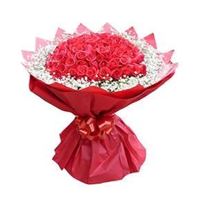 鲜花/缘定三生/66枝红玫瑰: 66枝红玫瑰  [包 装]:红色皱纹纸圆形精