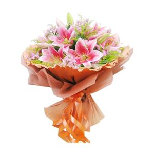 鲜花/祈愿:6支粉色多头香水百合 [包 装]:棕色卷边纸圆