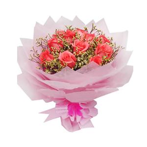 鲜花/微笑: 11支粉玫瑰  [包 装]:粉色棉纸圆形多层