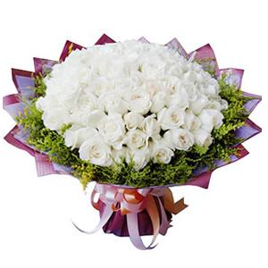 鲜花/真心爱你:66枝白玫瑰 包 装:印花皱纹纸圆形精美包装,丝带