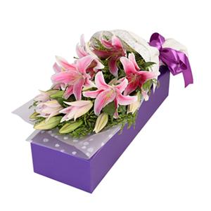 鲜花/粉色香水百合: 匠心设计,9朵香水百合  [包 装]:高档礼