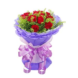 鲜花/一生的爱恋: 11枝红玫瑰  [包 装]:淡紫色卷边纸圆形