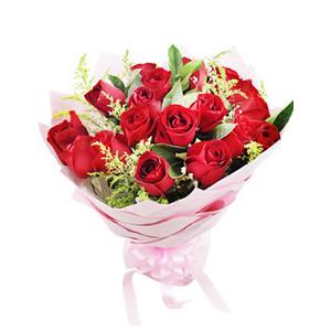 鲜花/真的很爱你:19枝红玫瑰 包 装:浅粉色皱纹纸尖角圆形包装。
