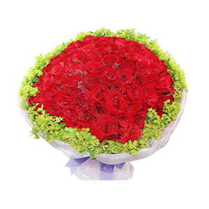 鲜花/一生守候:99枝红玫瑰 包 装:粉色皱纹纸精美包装,外层白色