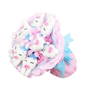 卡通花束/熱戀你(卡通花束): 9只藍色美人兔,毛絨玩具為PP棉填充(總部統一