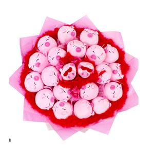 卡通花束/牽手幸福(卡通花束): 21只可愛粉色瞇眼豬獨立包裝(總部統一快遞發貨