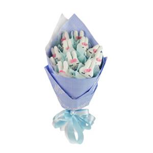 卡通花束/温暖的幸福(卡通花束): 11只米菲兔单独包装。  [包 装]:浅蓝色