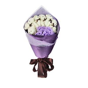 卡通花束/爱是温柔(卡通花束): 8只关节熊 5只仿真花  [包 装]:紫色珠