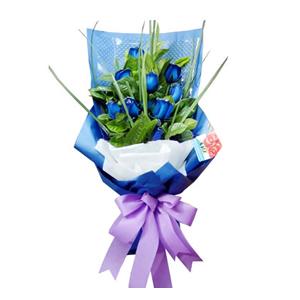鲜花/惺惺相惜: 9支蓝色妖姬  [包 装]:蓝色包装纸扇面包