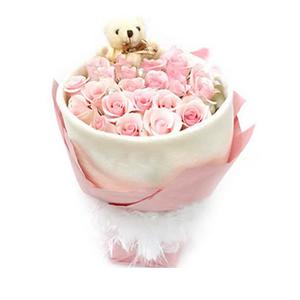 鲜花/粉色红颜:19枝粉玫瑰 包 装:白色皱纹纸圆形无角包装,外围
