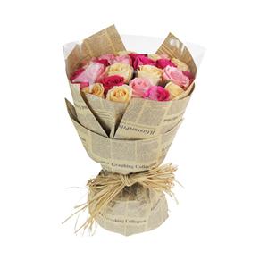 鮮花/花樣年華:9支香檳玫瑰9支大桃紅玫瑰和9支戴安娜玫瑰均勻分布。