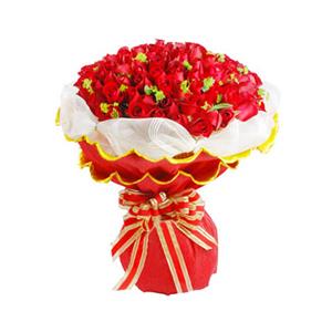 鲜花/天使的祝福:101枝红玫瑰 包 装:白色纱网外围,金边红色包装