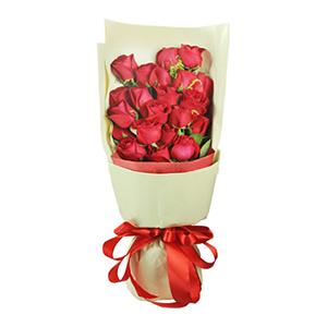 鲜花/一世欢颜: 红玫瑰21枝。  [包 装]:香槟色包装纸扇