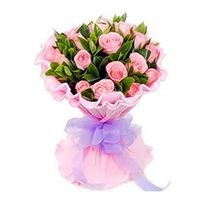 鲜花/气质佳人: 18枝粉玫瑰  [包 装]:粉色卷边纸精美包