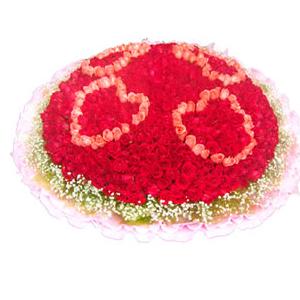 鲜花/不变的梦想: 红玫瑰、粉玫瑰共999枝  [包 装]:粉色