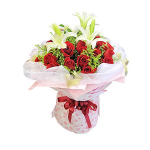鲜花/如果爱:19枝红玫瑰,2枝多头白色香水百合 包 装:粉色皱