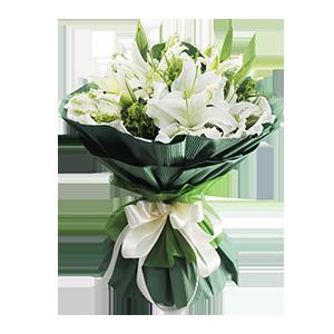 鲜花/最美的遇见: 6枝多头白色香水百合。  [包 装]:碧绿色