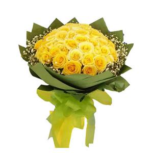 鲜花/星语心愿: 33枝黄玫瑰  [包 装]:绿色皱纹纸围边,