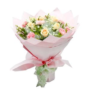 鲜花/蓝天下的思念: 6枝香槟玫瑰,9枝粉色康乃馨  [包 装]: