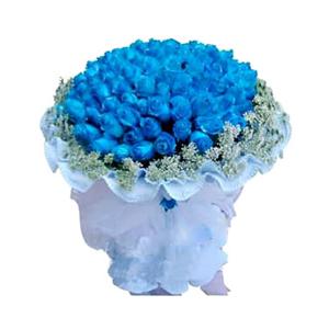 鲜花/我们恋爱吧: 99枝蓝玫瑰  [包 装]:淡蓝色卷边纸圆形