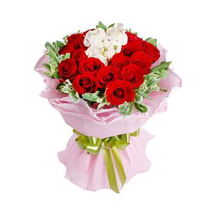 鲜花/爱你到老:19枝红玫瑰 配材:高山积雪丰满,毛绒小熊熊(10公