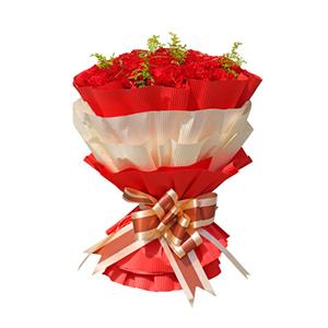 鲜花/依恋母爱: 33枝康乃馨  [包 装]:红色、白色瓦楞纸
