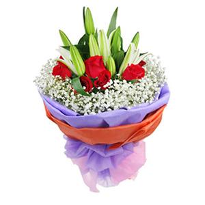 鲜花/天涯咫尺: 12枝精品红玫瑰,4枝白色百合  [包 装]