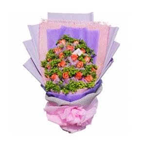 鲜花/心爱的姑娘:19支粉玫瑰 包 装:玫瑰单独纱网包装;紫色、粉色