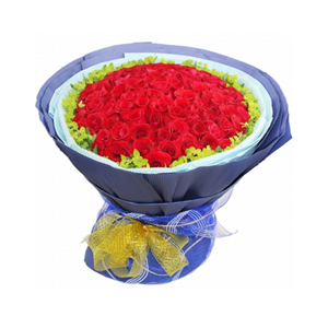 鲜花/爱的供养:99枝红玫瑰 包 装:淡蓝色玻璃纸和棉纸围边,蓝紫
